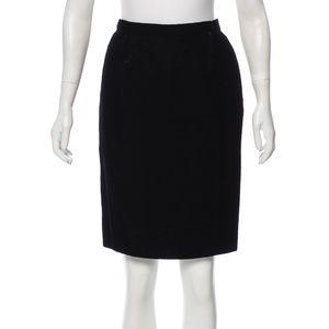 CHRISTIAN DIOR Black Velvet Knee-Length Skirt